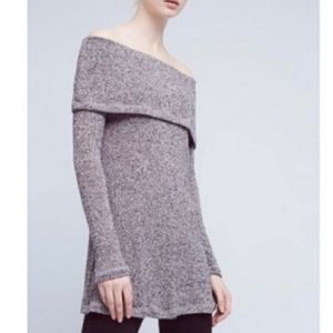 ANTHROPOLOGIE Off Shoulder Tunic Sweater Gray XS
